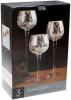 Набор 3 стеклянных подсвечника Isabelle 20см, 25см, 30см, серебро