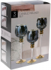 Набор 3 стеклянных подсвечника Claudine 30см, 35см, 40см, бордовый