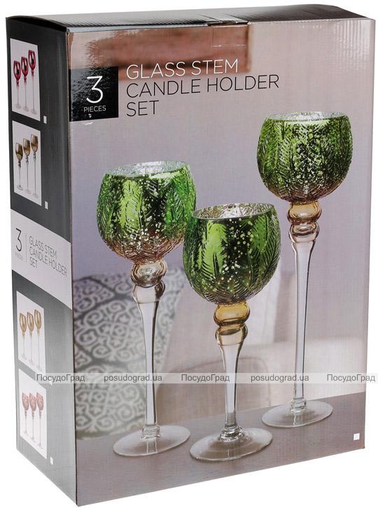 Набор 3 стеклянных подсвечника Isabelle 30см, 35см, 40см, фиолетовый