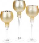 Набір 3 скляних підсвічника Claudine 30см, 35см, 40см, матове золото