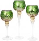 Набір 3 скляних підсвічника Isabelle 30см, 35см, 40см, зелений