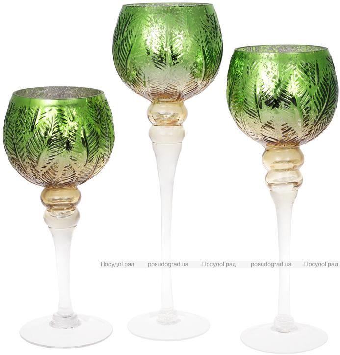 Набор 3 стеклянных подсвечника Isabelle 30см, 35см, 40см, зеленый