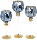 Набор 3 стеклянных подсвечника Christel 30см, 35см, 40см, синий
