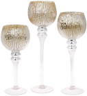 Набор 3 стеклянных подсвечника Christel 30см, 35см, 40см, шампань