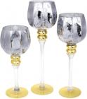 Набір 3 скляних підсвічника Christel 30см, 35см, 40см, графітовий