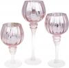 Набор 3 стеклянных подсвечника Christel 20см, 25см, 30см, розовый с серебром