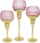 Набор 3 стеклянных подсвечника Lovell 30см, 35см, 40см, розовый с золотом