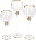 Набор 3 стеклянных подсвечника Sayyora 30см, 35см, 40см, прозрачный с золотом