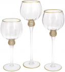 Набір 3 скляних підсвічника Sayyora 30см, 35см, 40см, прозорий з золотом