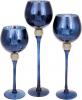 Набор 3 стеклянных подсвечника Isabelle 30см, 35см, 40см, синий с золотом