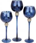 Набір 3 скляних підсвічника Isabelle 30см, 35см, 40см, синій з золотом