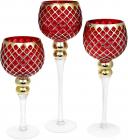 Набір 3 скляних підсвічника Ferdeus 30см, 35см, 40см, зелений з золотом
