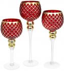 Набор 3 стеклянных подсвечника Ferdeus 30см, 35см, 40см, красный с золотом