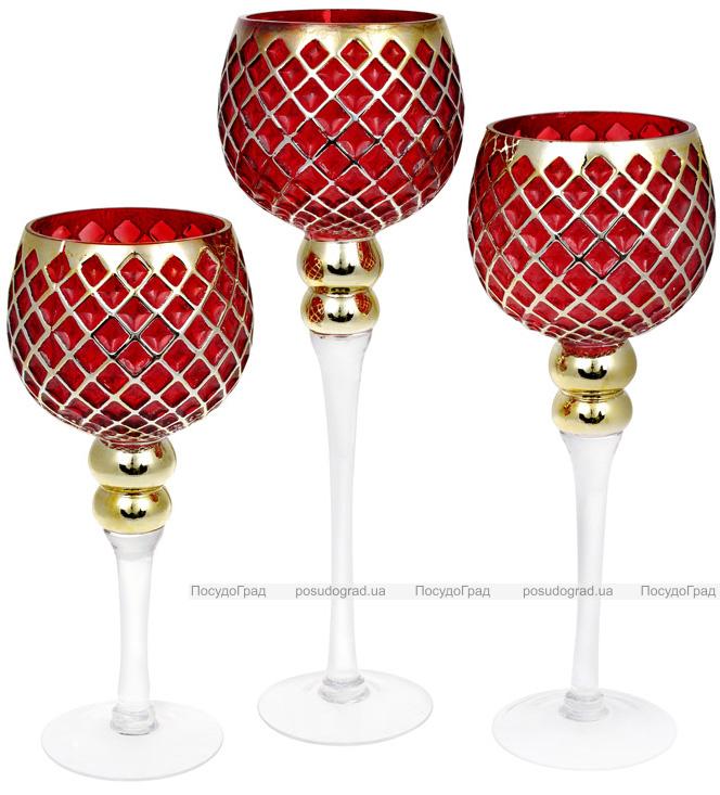 Набір 3 скляних підсвічника Ferdeus 30см, 35см, 40см, червоний з золотом