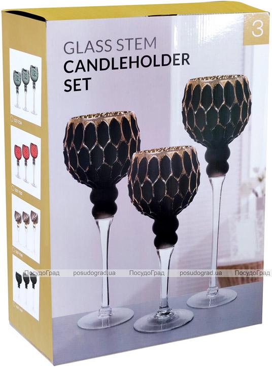 Набір 3 скляних підсвічника Ferdeus 30см, 35см, 40см, чорний з золотом