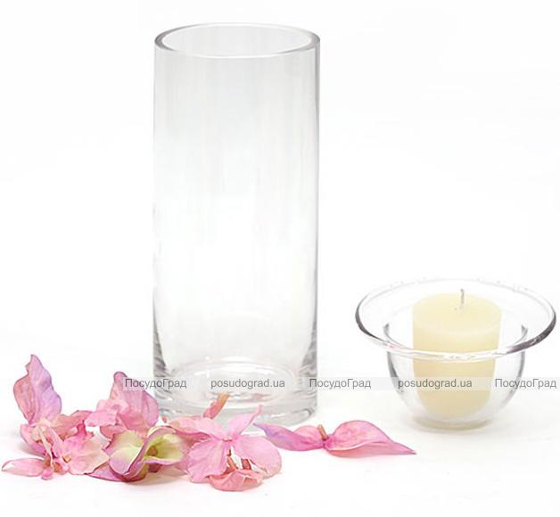 Подсвечник стеклянный 18.5х9.5см со съемным стаканом