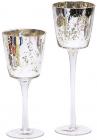 Набор 2 стеклянных подсвечника Tamulan 20см, 25см, серебро