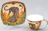 Кавова пара Леопард чашка 60мл з блюдцем, кістяний фарфор