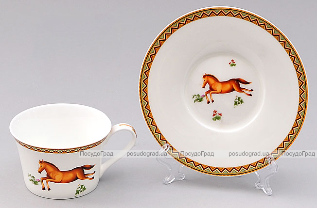 Чайная пара Fast Horse чашка 220мл с блюдце, костяной фарфор