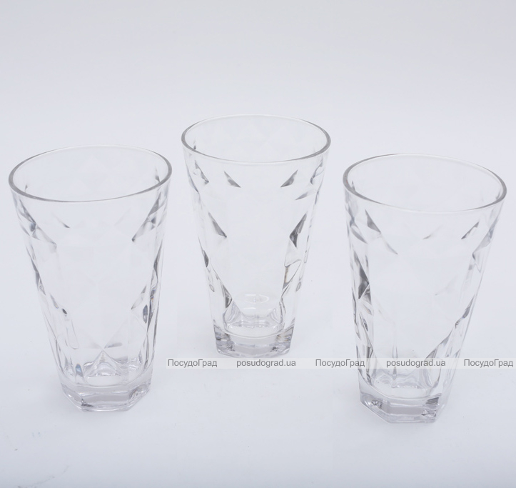"""Набор 3 стакана """"Эмилия""""-25 прозрачные 375мл"""