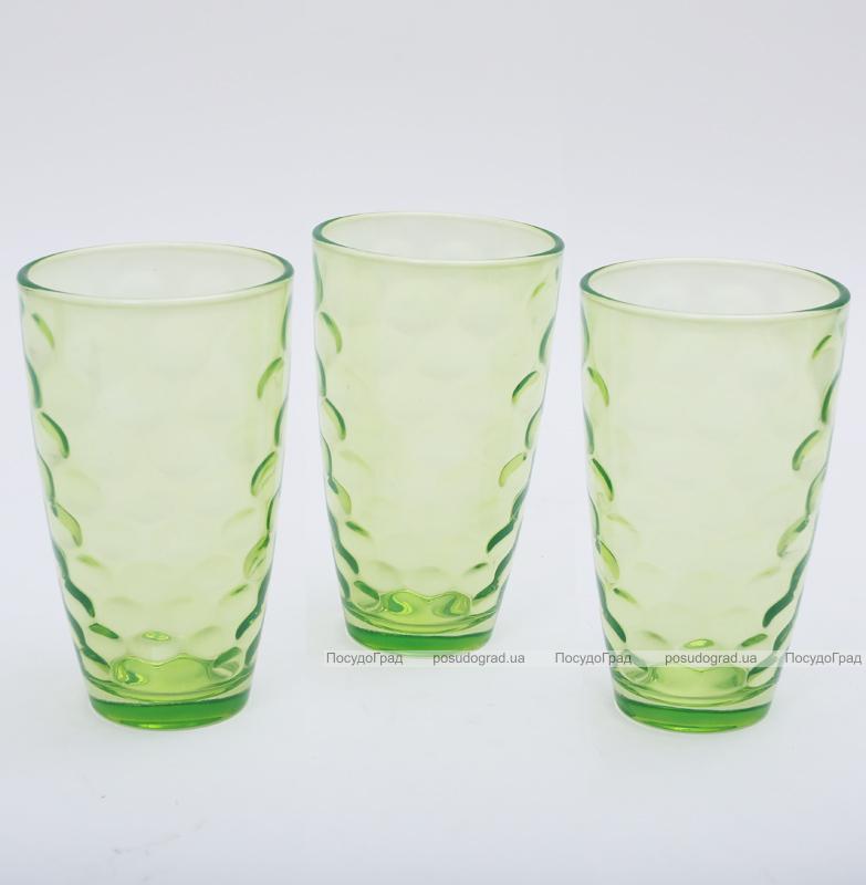 """Набор 3 стакана """"Эмилия""""-34 зеленые 425мл"""