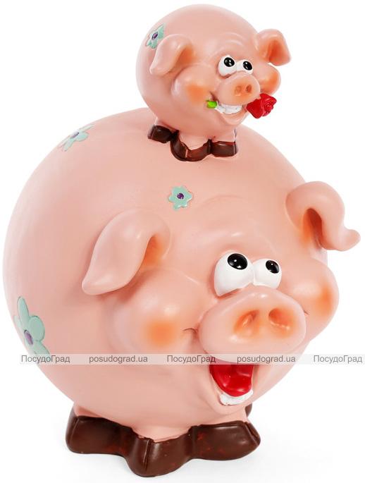 """Скарбничка """"Пузаті свинки"""" 17.5х15х22см, рожева"""