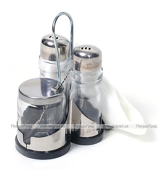 Набор для специй Serving-Pro 12x8x10см, соль/перец, горчичница и салфетница