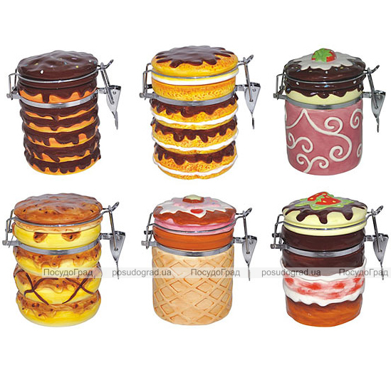 Банка Ceramic Cake 450-500мл для сыпучих продуктов с металлической затяжкой