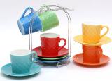 """Чайный набор """"Радуга"""" 6 чашек 220мл и 6 блюдец на подставке"""