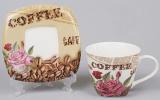 Чайная пара Сoffee&Roses-III чашка 220мл с блюдцем