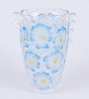 """Ваза стеклянная Bona Glass 24см """"Голубые цветы"""""""