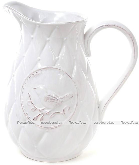 Кувшин керамический Leeds Птица 1800мл, белый