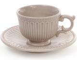 Чайно-кофейный набор Stone Flower 4 чашки 200мл и 4 блюдца, бежевый