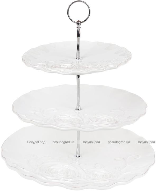 Фуршетная стойка 3-х ярусная Аэлита, керамика, 31.7х31.7х33.5см