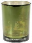 """Підсвічник скляний """"Таємничий ліс"""" 10х12.5см, зелений"""