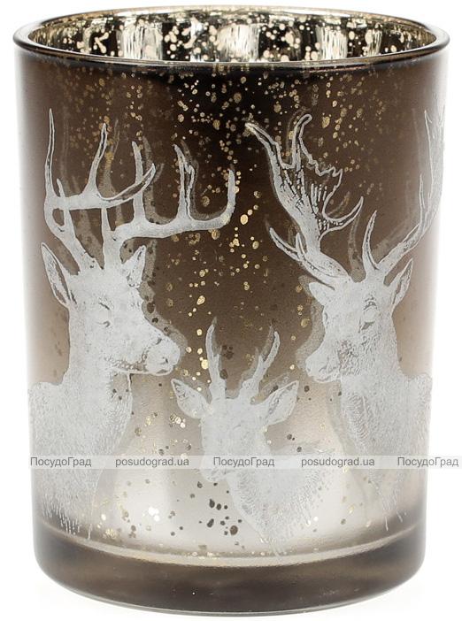 """Подсвечник стеклянный """"Олени"""" 10х12.5см, коричневый"""