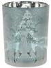 """Подсвечник стеклянный """"Олени"""" 10х12.5см, морозный синий"""
