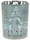 """Підсвічник скляний """"Олені"""" 10х12.5см, морозний синій"""