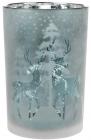 """Підсвічник скляний """"Олені"""" 12х18см, морозний синій"""