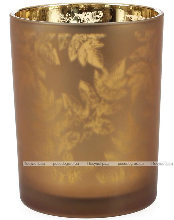 """Подсвечник стеклянный """"Листья"""" 10х12.5см, коричневый"""