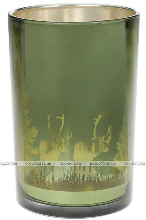 """Підсвічник скляний """"Таємничий ліс"""" 12х18см, зелений"""