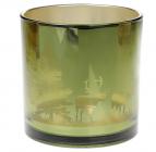 """Підсвічник скляний """"Таємничий ліс"""" 15х15см, зелений"""