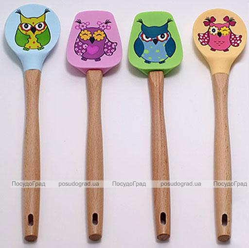 Лопатка кулинарная Оwl силиконовая 30см с деревянной ручкой