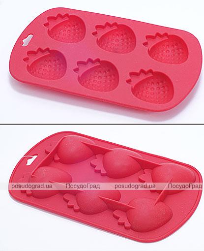 Силиконовая форма для льда Strawberry с усилителем 19х12х3см