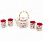 """Набір Iwaki """"Червоний Дракон"""" для чайної церемонії, 5 предметів на 4 персони"""