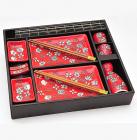 Набор для суши Iwaki Red 14 предметов на деревянном подносе