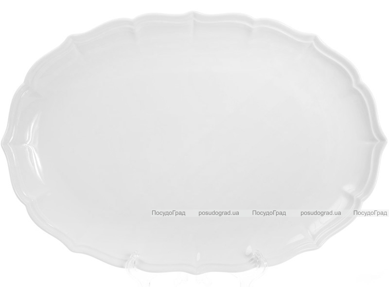 """Блюдо фарфорове """"White Prince-2"""" овальне 39.6х27.2см (білий фарфор)"""