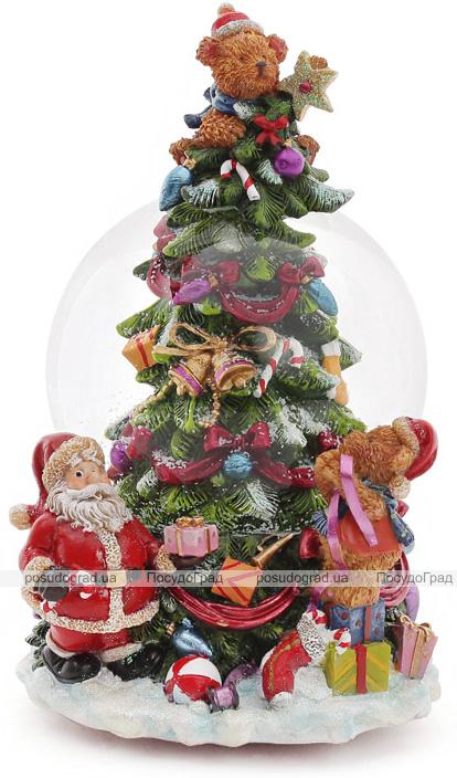 """Декоративный водяной шар """"Рождественская ель"""" 18см, музыкальный"""