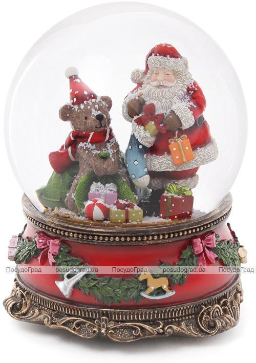 """Декоративный водяной шар """"Санта с Мишкой"""" 20см, музыкальный"""