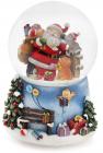 """Декоративный водяной шар """"Санта с помощниками"""" 15.5см, музыкальный"""
